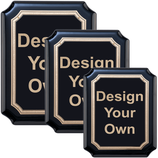 Gloss Black and Gold Wall Plaque with Scalloped Corners - Choose your Size