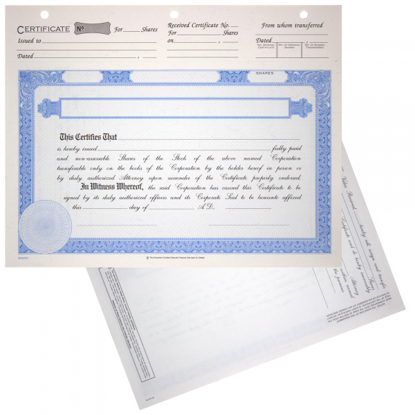 BLUTO 02 Blank Corporate Stock Certificates   Quantity of 20 or More