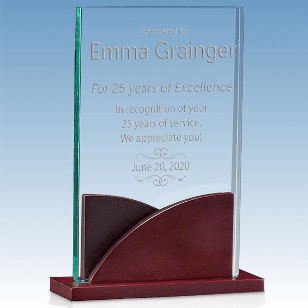 Career Recognition Premium Acrylic Award with Mahogany Base