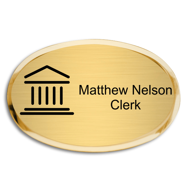 Courthouse Law Office Oval Premier Name Tag