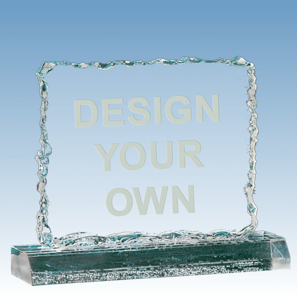 "Crushed Ice Jade Acrylic Award 6 ½"" x 5 ¼"""