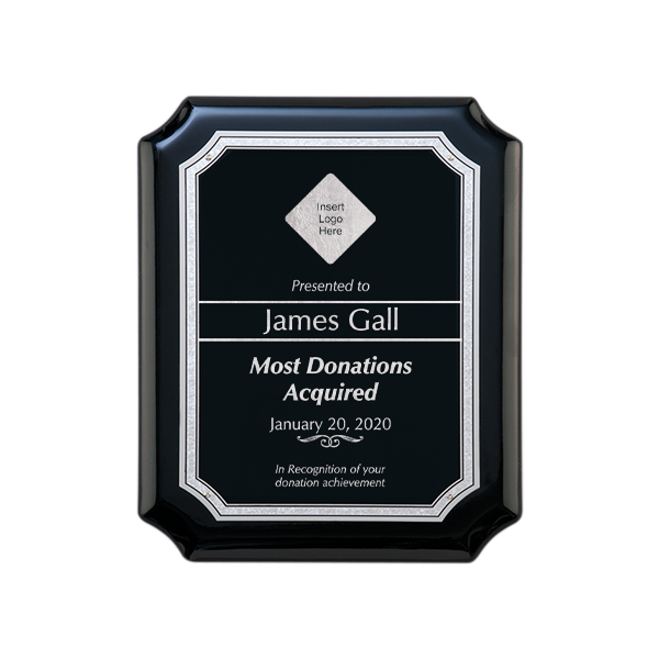 Donation Goal Gloss Black and Silver Wall Plaque with Scalloped Corners