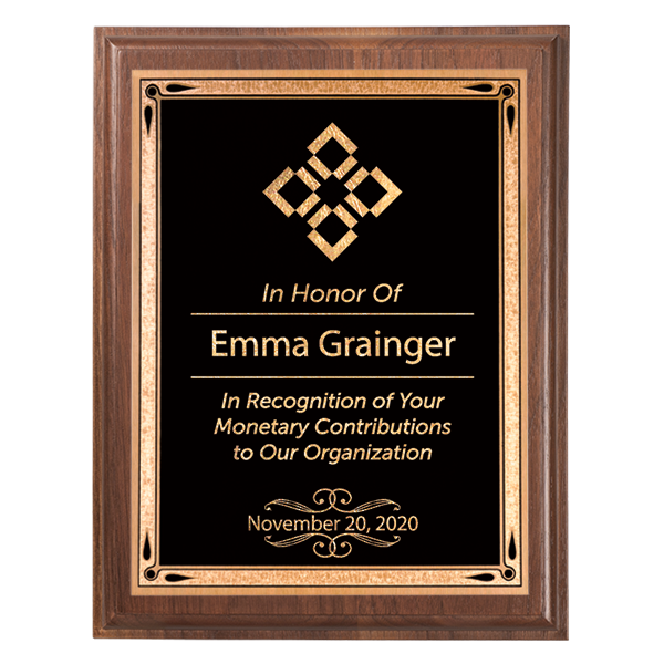Donor Recognition 5 x 7 Walnut Plaque