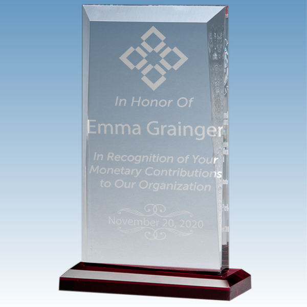 Donor Recognition Apex Style Acrylic Award w/ Red Base