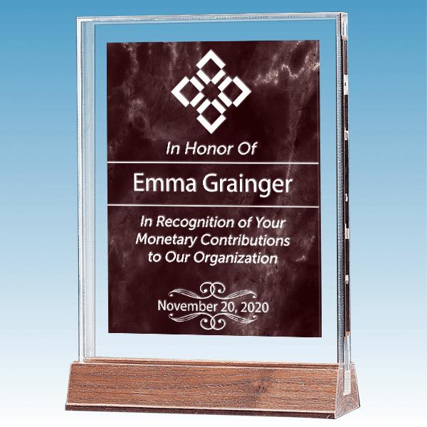 Donor Recognition Marble Ruby Polished Acrylic Award on Walnut Base