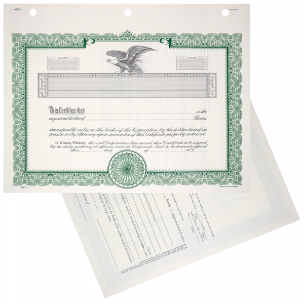 Duke 10 Blank Stock Certificates   Quantity of 20 or More