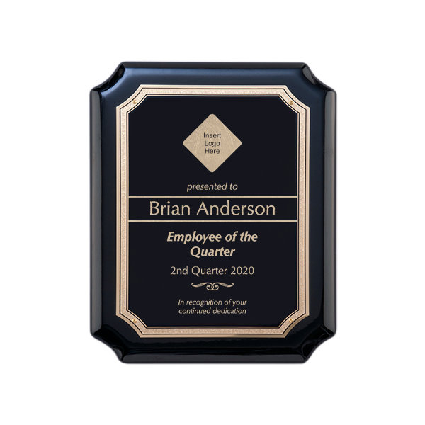 Employee of the Quarter Gloss Black and Gold Wall Plaque with Scalloped Corners