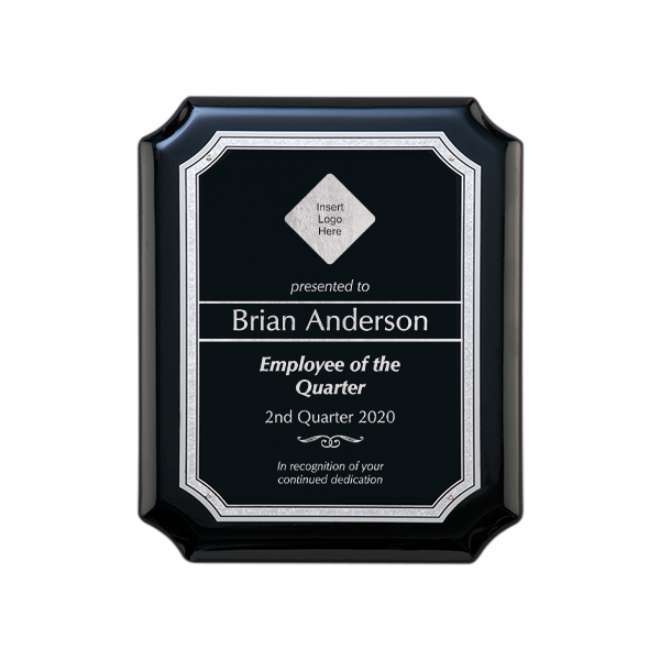 Employee of the Quarter Gloss Black and Silver Wall Plaque with Scalloped Corners