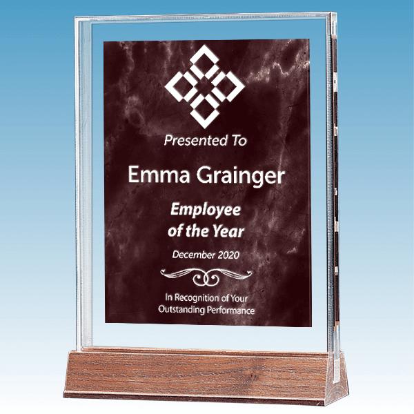 Employee of the Year Marble Ruby Polished Acrylic Award on Walnut Base