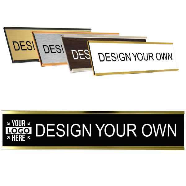 Custom Engraved Name Plate for Wall or Door - Aluminum Holder - 2x10