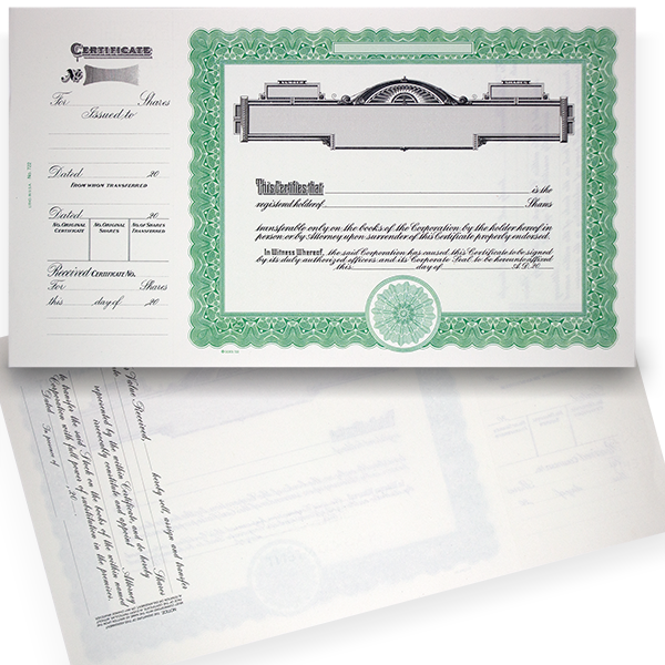 GOES 722 Blank Standard Stock Certificates   Quantity of 20 or More