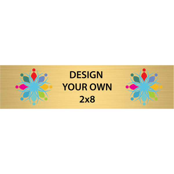"""Horizontal Full Color Brass Signs 2"""" x 8"""""""
