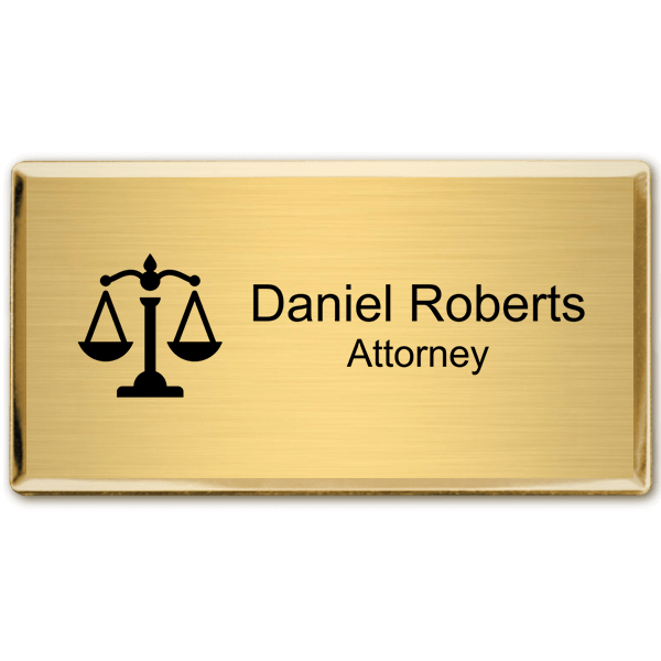 """Law Office Rectangular Name Tag with Executive Holder (3"""" x 1.5"""")"""