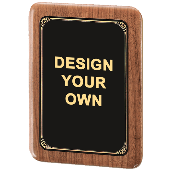 """Rounded Corner Walnut Plaque with Black / Brass Plate 