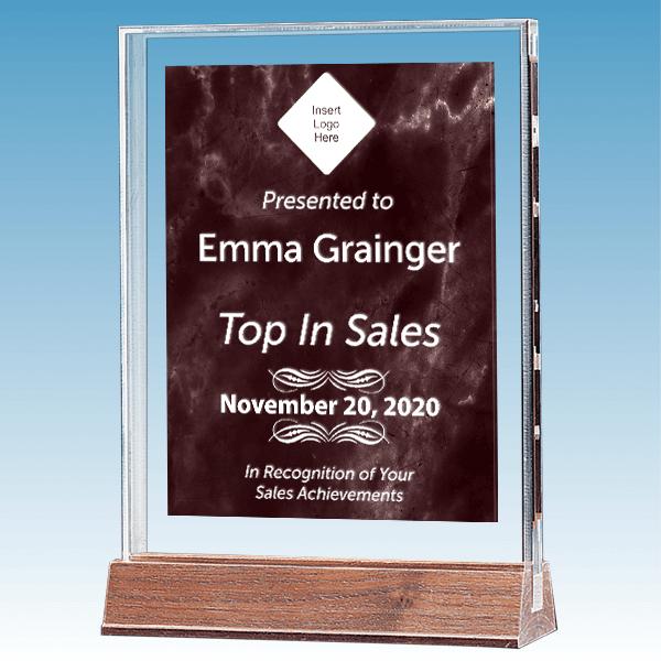 Sales Goal Marble Ruby Polished Acrylic Award on Walnut Base
