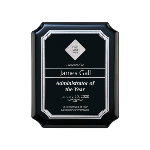 Scholastic Admin Gloss Black and Silver Wall Plaque with Scalloped Corners