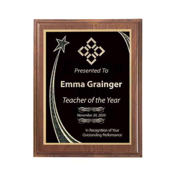 Teacher of the Year Rising Star Walnut Plaque