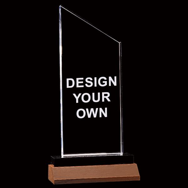 """Zenith Series Clear Acrylic Award w/Walnut Base   4.25"""" x 7.25"""""""