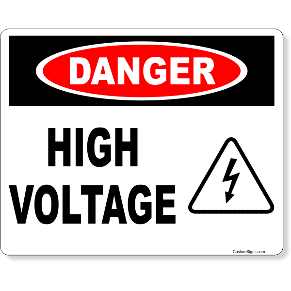 """Danger High Voltage Icon Full Color Sign 