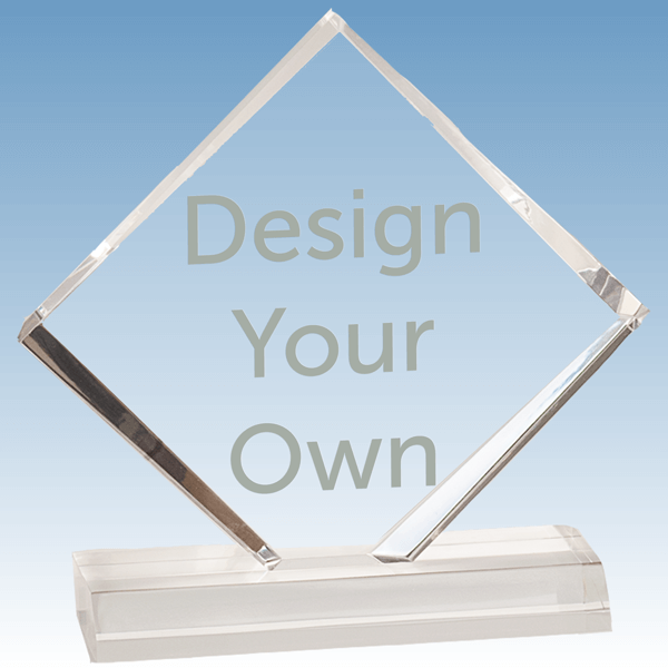 A3347 - DIamond Shape Jewel Bevel Acrylic Stand-up Award