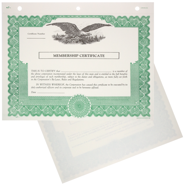 Duke 6 Non-Profit Stock Certificates - Blank Set of 20
