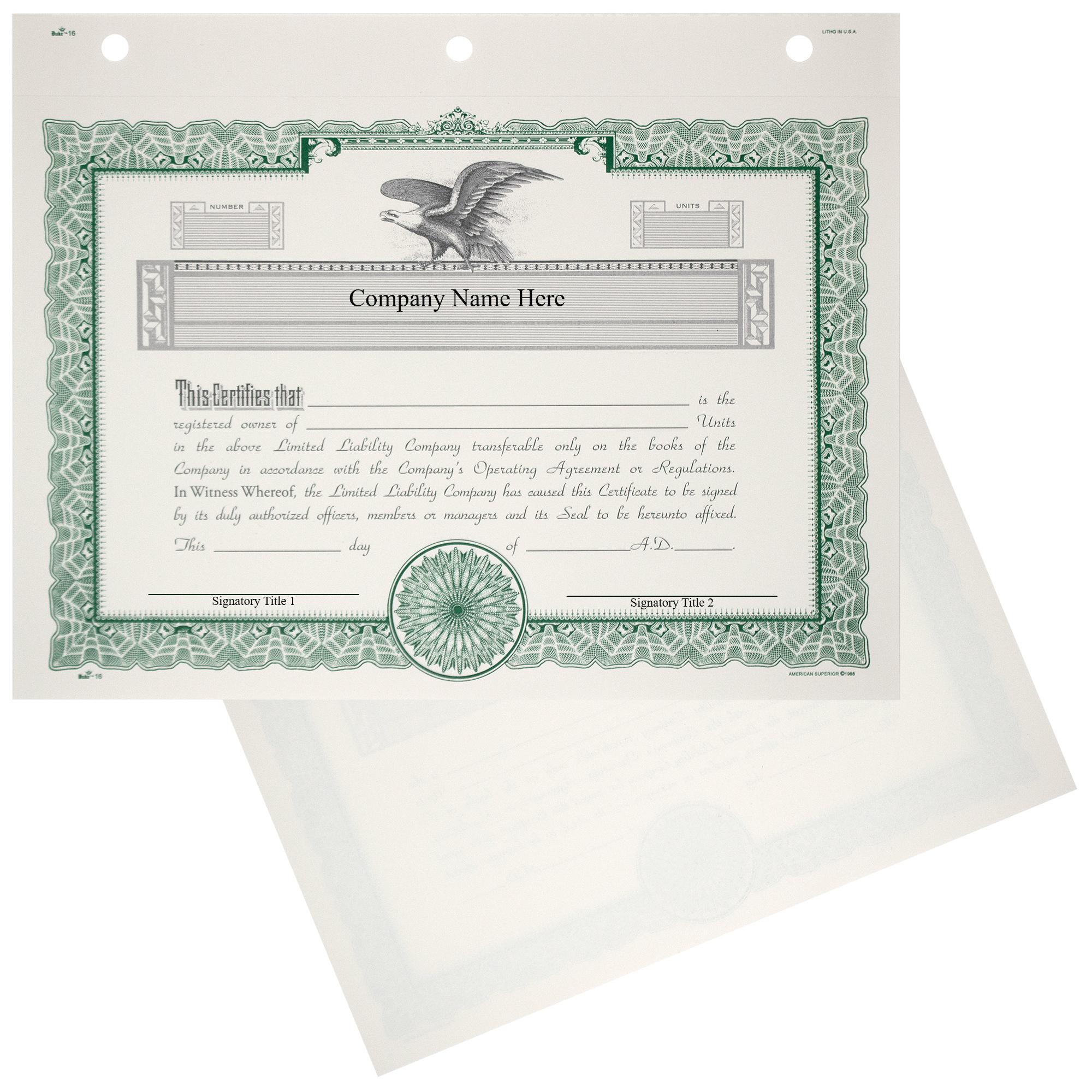 Duke 16 LLC Membership Certificates   Quantity of 20 or More