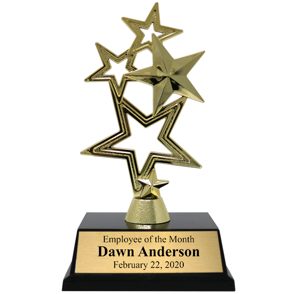 Employee of the Month 5-Star Gold Award Trophy