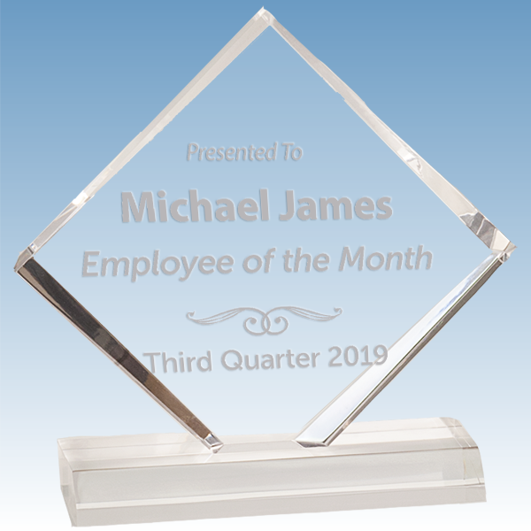 Employee of the Month Diamond Jewel Bevel Acrylic Award