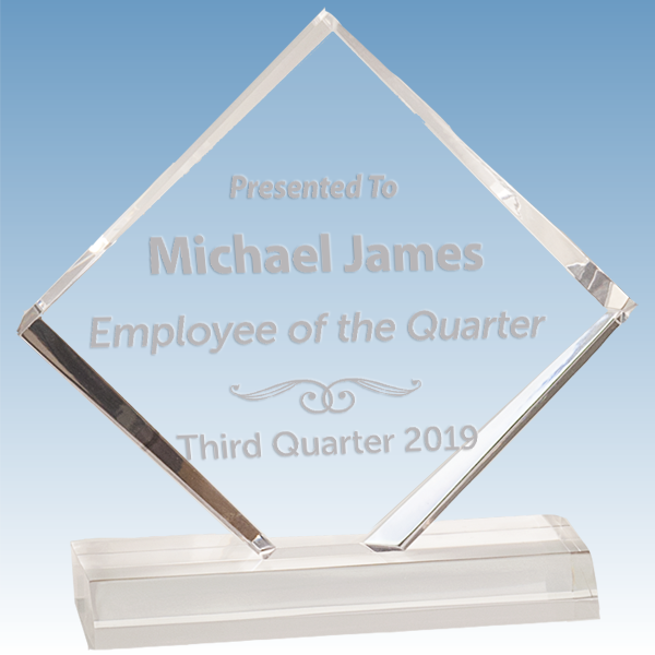 Employee of the Quarter Diamond Jewel Bevel Acrylic Award
