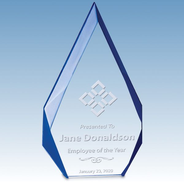 Employee of the Year Flame Series Free Standing Acrylic Award with Blue Accented Bevels