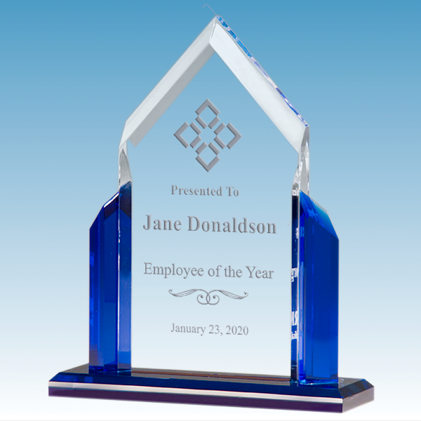 Emploee of the Year Peak Series Clear Acrylic Award w/ Blue Accents