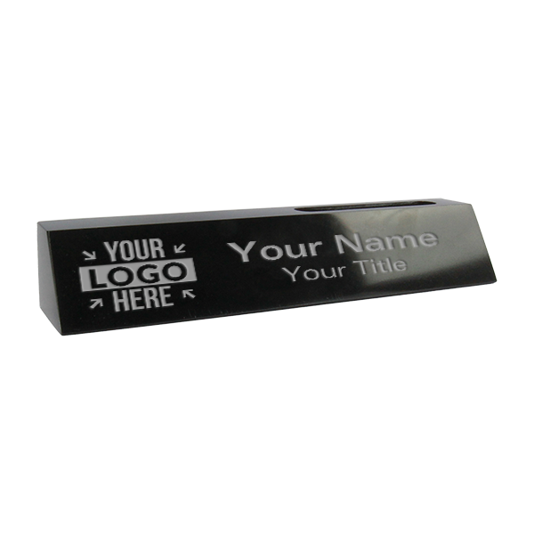 "Engraved Black Marble Desk Name Plate w/ Biz Card   2"" x 10"""