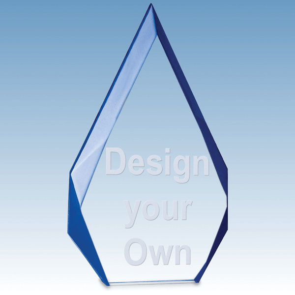 A6749 Flame Series Clear Acrylic Award with Blue Accented Bevels