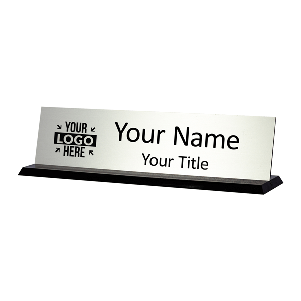 Flat Grooved Black Acrylic Desk Sign with Engraved insert