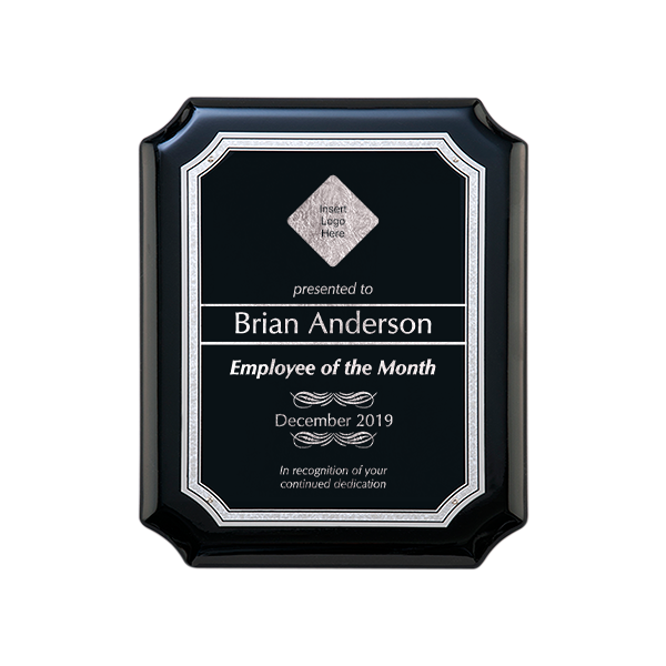 Gloss Black and Silver Employee of the Month Wall Plaque with Scalloped Corners