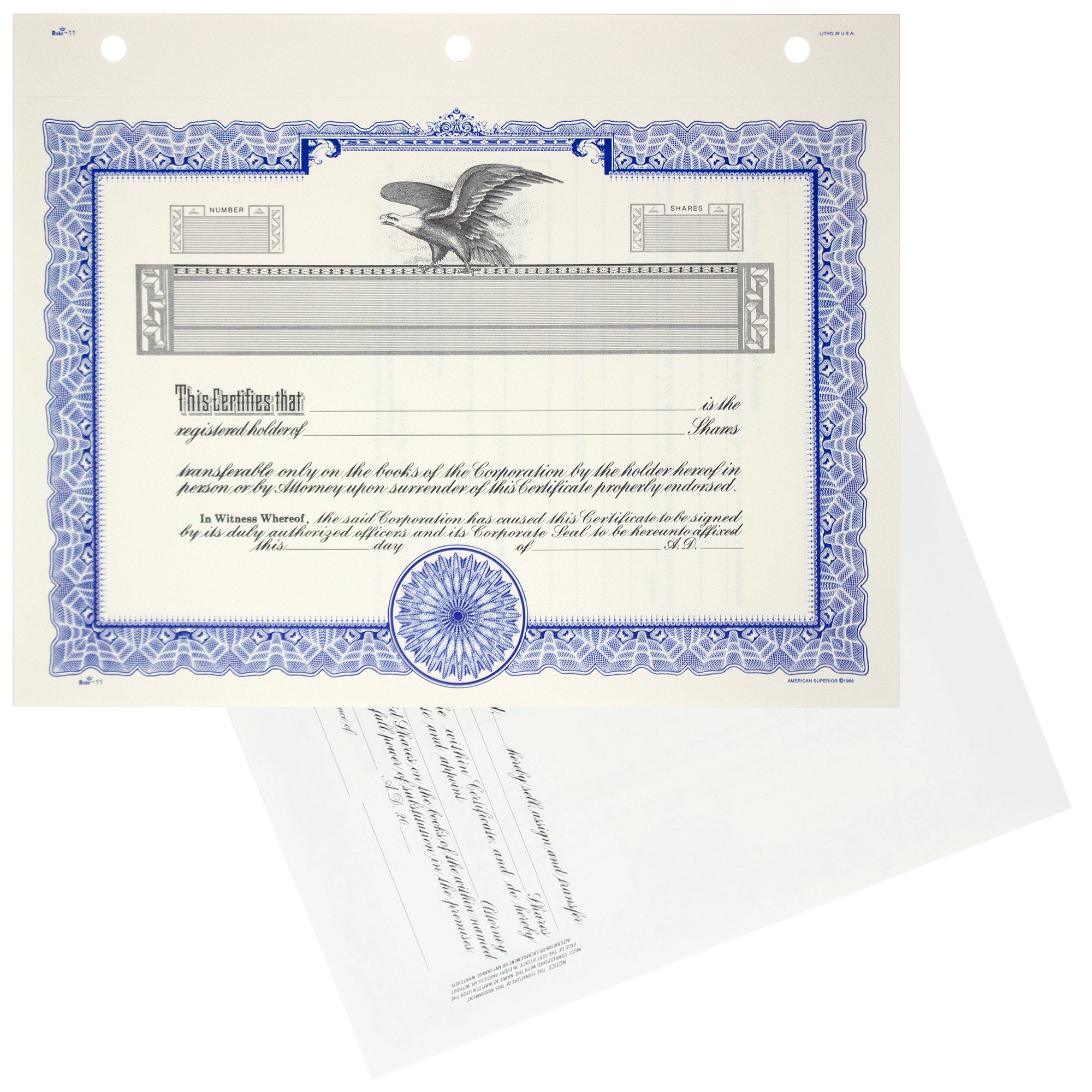 GOES KG3 Blank Corporate Stock Certificates   Quantity of 20 or more