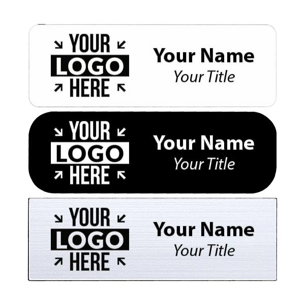 "Laser Engraved White Name Tag - 1"" x 3"""