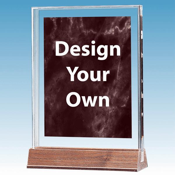 A4268RU Ruby Marble Design Acrylic Award with Walnut Base