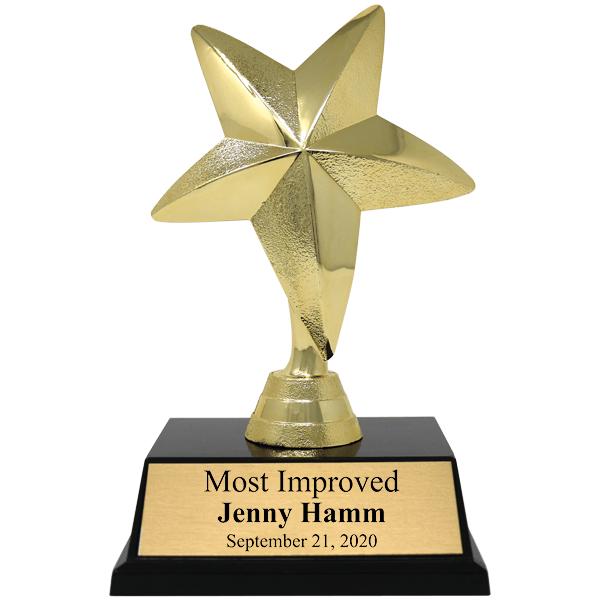 Most Improved Gold Star Award Trophy