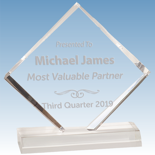 Most Valuable Person Diamond Jewel Bevel Acrylic Award
