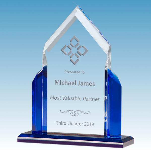 Most Valuable Person Peak Series Clear Acrylic Award w/ Blue Accents