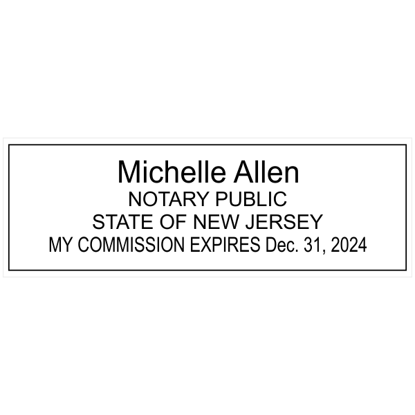 New Jersey Notary Pink Stamp - Rectangle Imprint Example