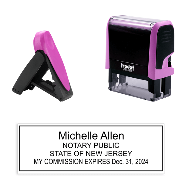 New Jersey Notary Pink Stamp - Rectangle