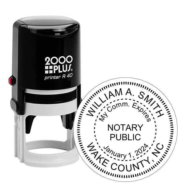 North Carolina Notary With Expiration Date Round Stamp