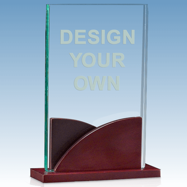 A6804 - Rectangular Acrylic Award with Shaped Mahogany Base