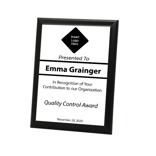 """Quality Control Goal Full Color 5"""" X 7"""" Photo Plaque with Black Edge"""