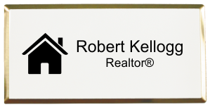 "Real Estate Medium Rectangular Name Tag with Executive Holder (3""x 1.5"")"
