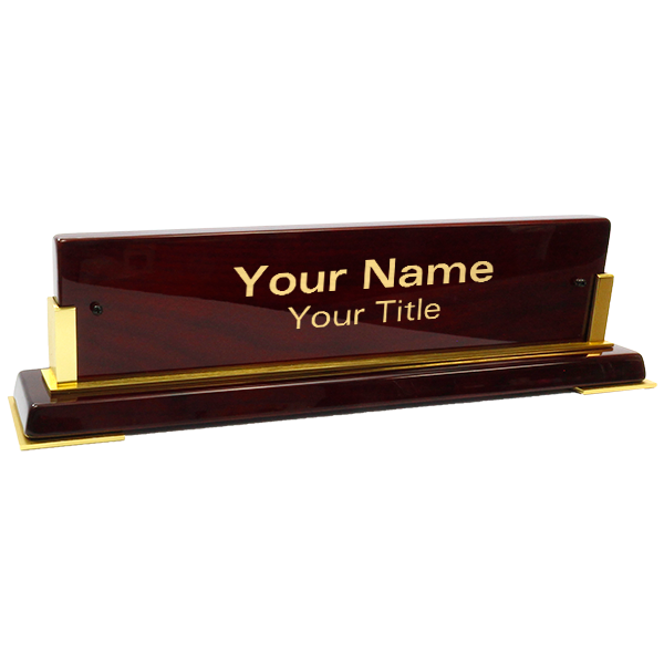"""Customized Brass Name Plate Wooden Base 