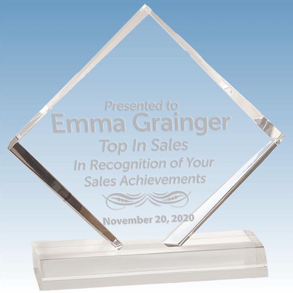 Sales Goal Diamond Jewel Bevel Acrylic Award