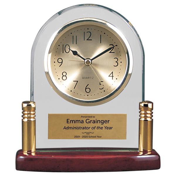 Scholastic Admin Glass and Piano Finish Desktop Award Clock
